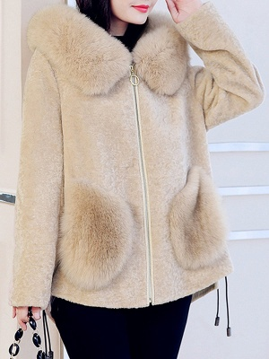 Paneled Hoodie Paneled Solid Fur And Shearling Coats_1