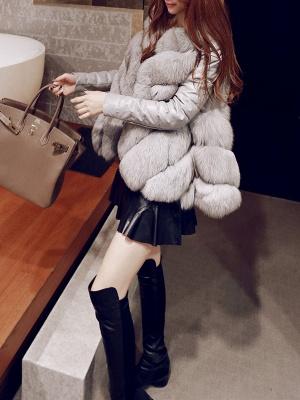 Long Sleeve A-Line Fluffy Elegant Fur And Shearling Coats_12
