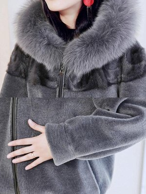 Hoodie Long Sleeve Zipper Fur And Shearling Coats_8