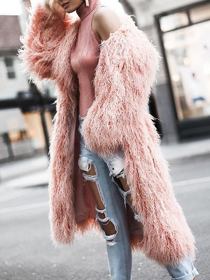 Fluffy Long Sleeve Casual Fur and Shearling Coat_6