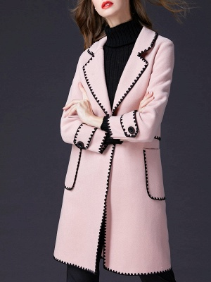 Pink Embroidered Long Sleeve Shift Coat_5