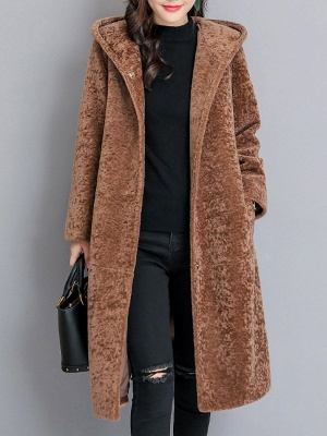 Buttoned Long Sleeve Hoodie Fur And Shearling Coats_6