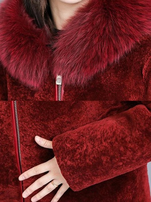 Shift Long Sleeve Zipper Solid Fur And Shearling Coats_10