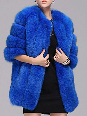 Long Sleeve Casual Solid Paneled Fur and Shearling Coat_6