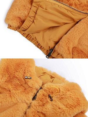 Fluffy Solid Hoodie Pockets Fur And Shearling Coats_11