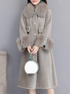 Women's Winter Faux Fur Shearling Coats With Fur Collar_3
