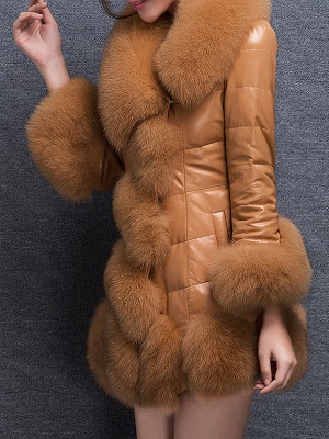 Fluffy Pockets Buttoned A-line Fur and Shearling Coat_10