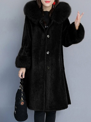 Hoodie Paneled Fluffy Fur And Shearling Coats_2