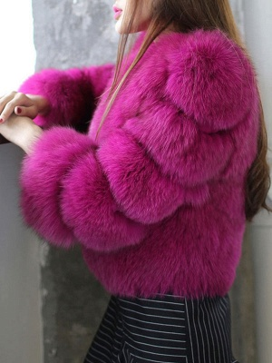 Casual 3/4 Sleeve Solid Fluffy  And Shearling Coat_4