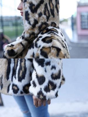 Brown Long Sleeve Hoodie Printed Fur And Shearling Coats - StyleWe.com_6