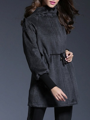 Gray Raglan Sleeve Paneled Coat_7