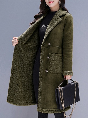 Long Sleeve Lapel Buttoned Fur And Shearling Coats_6