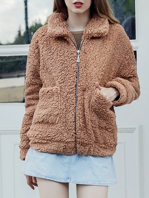 Casual Solid Shift Long Sleeve Fur and Shearling Coat_8