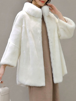 Stand Collar Shift Casual Long Sleeve Solid Fur and Shearling Coat_5