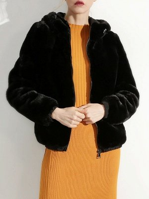 Fluffy Solid Hoodie Pockets Fur And Shearling Coats_5