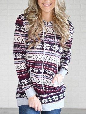 Ethnic Style Snowflake Printed Long Sleeves Hooded Christmas Fleece Hoodies for Women_1