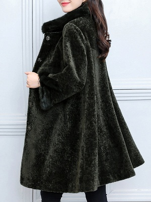 Long Sleeve Beaded Solid Buttoned Fur And Shearling Coats_6