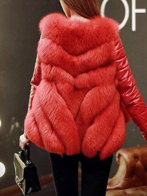 Long Sleeve A-Line Fluffy Elegant Fur And Shearling Coats_6