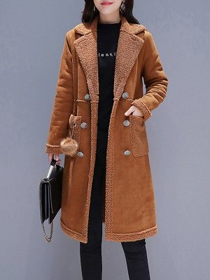 Long Sleeve Lapel Buttoned Fur And Shearling Coats_1