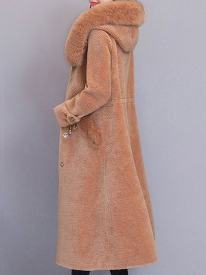 Hoodie Solid Long Sleeve Casual Fur And Shearling Coats_6