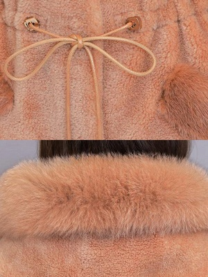 Hoodie Solid Long Sleeve Casual Fur And Shearling Coats_9