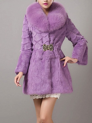 Casual Shawl Collar Beaded Shift Long Sleeve Fur and Shearling Coat_2