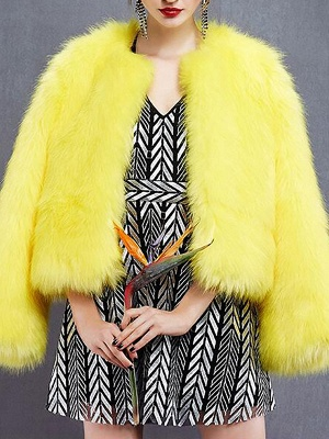 Yellow Fluffy Fur and Shearling Coat_3
