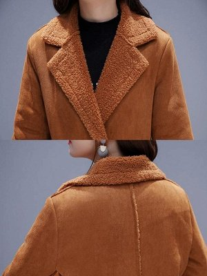 Long Sleeve Lapel Buttoned Fur And Shearling Coats_8