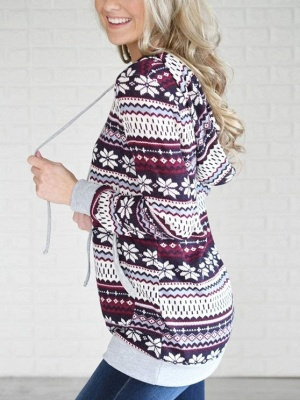 Ethnic Style Snowflake Printed Long Sleeves Hooded Christmas Fleece Hoodies for Women_5