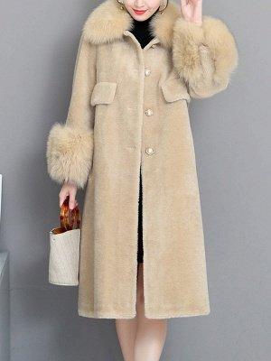 Casual Long Sleeve Fur And Shearling Coats_1
