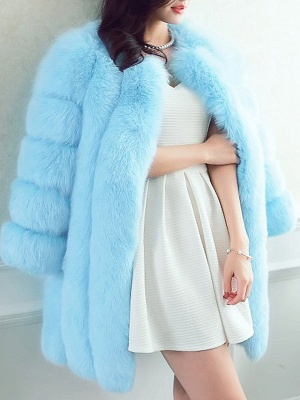 Long Sleeve Casual Solid Paneled Fur and Shearling Coat_2