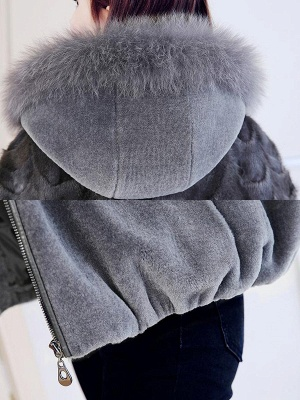 Hoodie Long Sleeve Zipper Fur And Shearling Coats_7