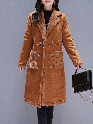 Long Sleeve Lapel Buttoned Fur And Shearling Coats_9