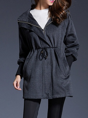 Gray Raglan Sleeve Paneled Coat_1