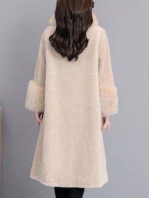 Women's Winter Faux Fur Shearling Coats With Fur Collar_5