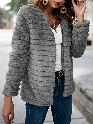 Gray Crew Neck Fluffy  Shift Fur and Shearling Coat_4