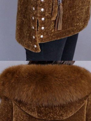 Beaded Slit Hoodie Fur And Shearling Coats_7