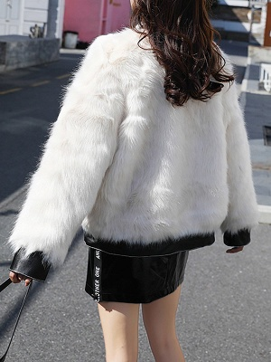 White Paneled Zipper Stand Collar Fur And Shearling Coats_3