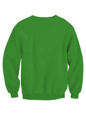Women's Green Cartoon Santa Claus Printed Long Sleeves Casual Christmas Sweatshirt_3