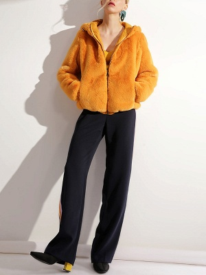 Fluffy Solid Hoodie Pockets Fur And Shearling Coats_14