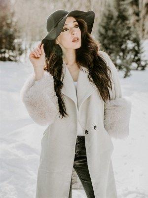 Elegant Wool Fur A-line And Shearling Coat_4