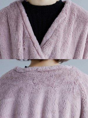 Long Sleeve Pockets Crew Neck Fur And Shearling Coats_8