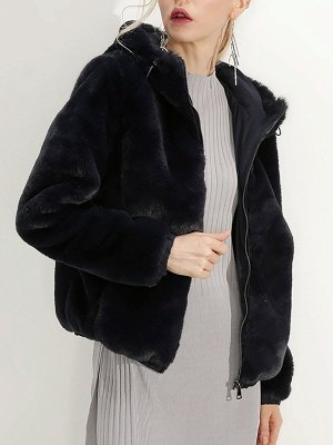 Fluffy Solid Hoodie Pockets Fur And Shearling Coats_17