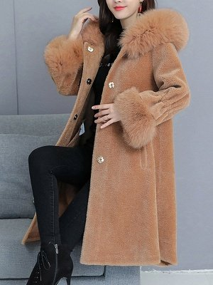 Hoodie Paneled Fluffy Fur And Shearling Coats_9