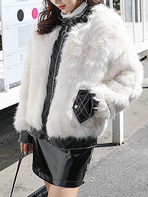 White Paneled Zipper Stand Collar Fur And Shearling Coats_4