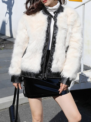 White Paneled Zipper Stand Collar Fur And Shearling Coats_6