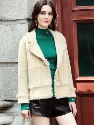 Long Sleeve Work Lapel Shift Fur And Shearling Coats_1