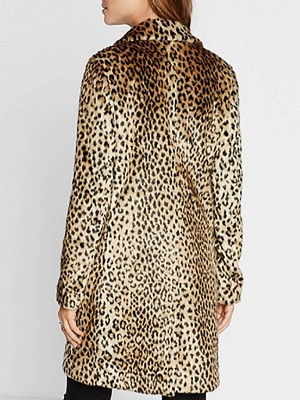 Brown Shawl Collar Leopard Print Fur and Shearling Coat_3