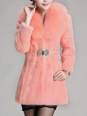 Casual Shawl Collar Beaded Shift Long Sleeve Fur and Shearling Coat_1