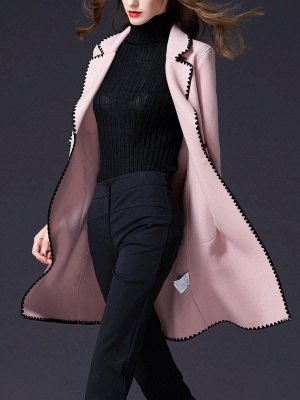 Pink Embroidered Long Sleeve Shift Coat_8